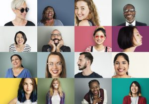 Grid of images of diverse people
